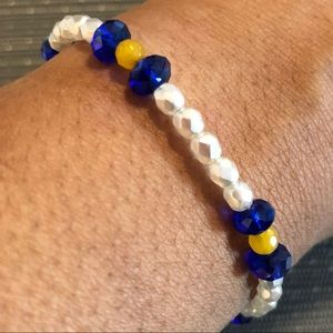 Jewelry - White, Blue and Yellow Handmade Bracelet
